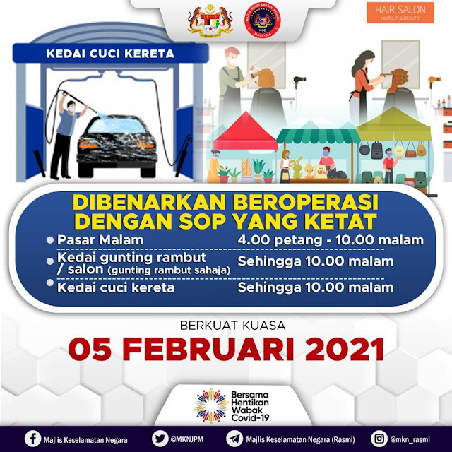 Kedai Gunting Rambut, Pasar Malam Dan Pusat Cuci Kereta Dibenarkan Operasi Bermula 5 Februari