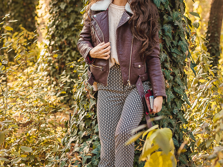 fashion blogger diyorasnotes autumn leather jacket print pants 10 2 - LEATHER JACKET FROM DRESSLILY