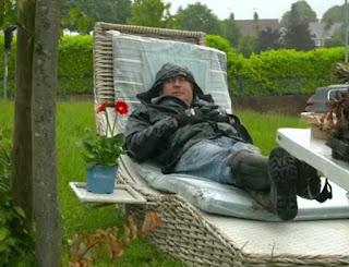 David relaxes on a sun lounger
