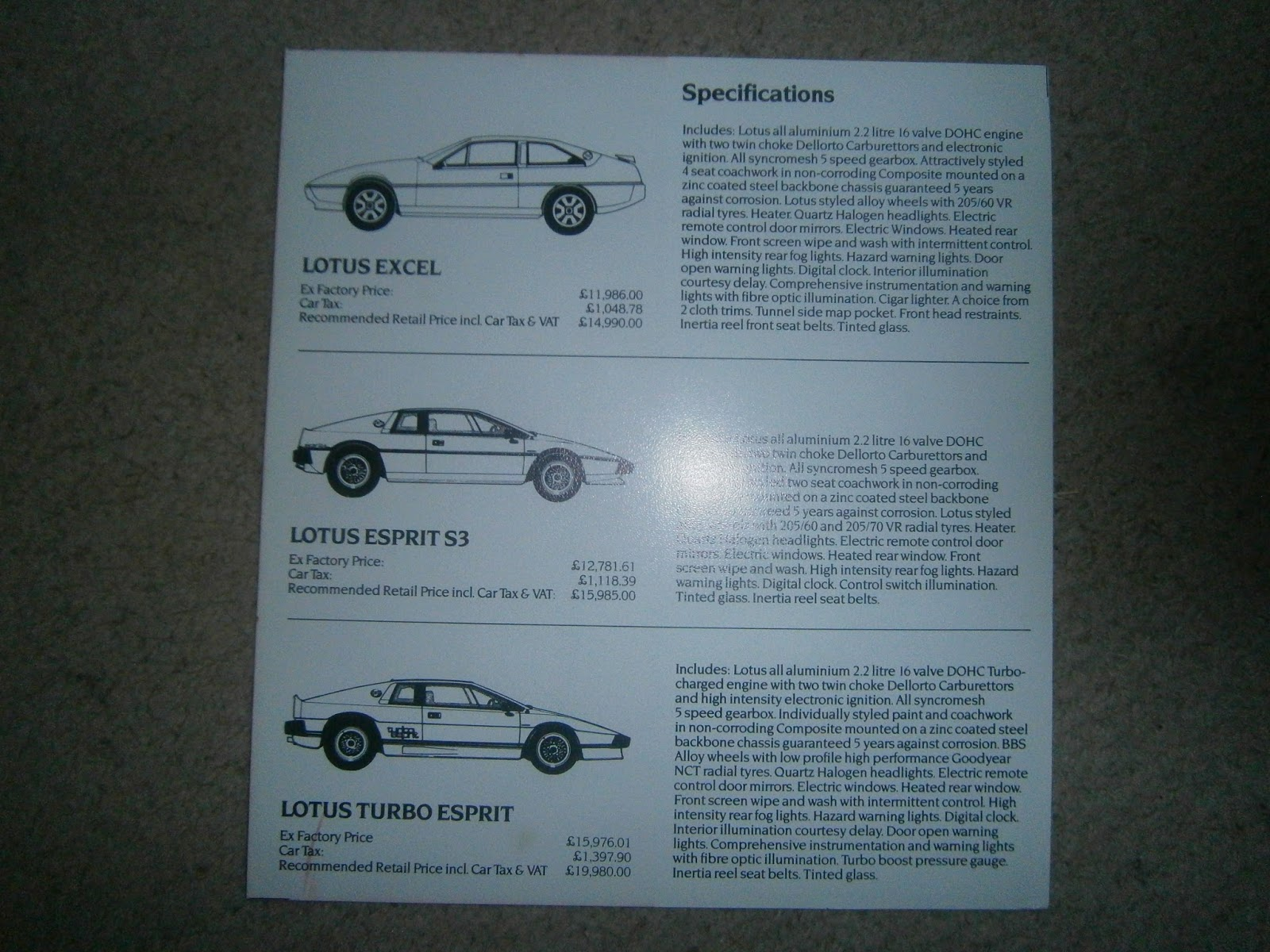 Advertising Vehicle Parts & Accessories Responsible Lotus Esprit Post Card Brochure Sales Literature