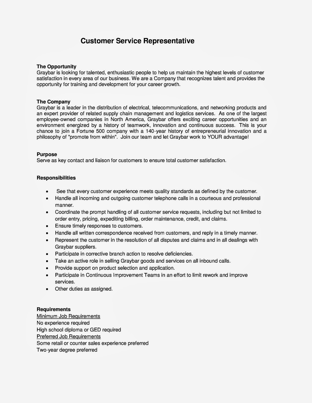 Customer Service Sales Representative Resume Cover Letter Sample For Inbound Customer Service