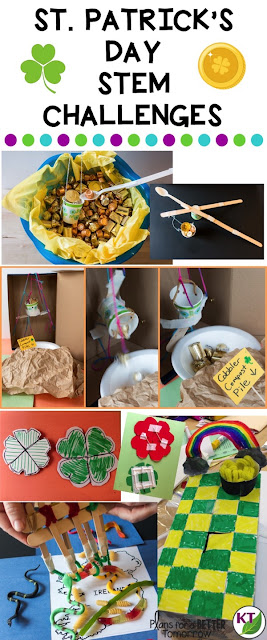 5 St. Patrick's Day STEM Challenges with modifications for grades 2 - 8.