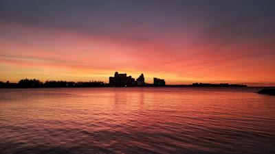 Fiery sunset Over Baha Mar resort