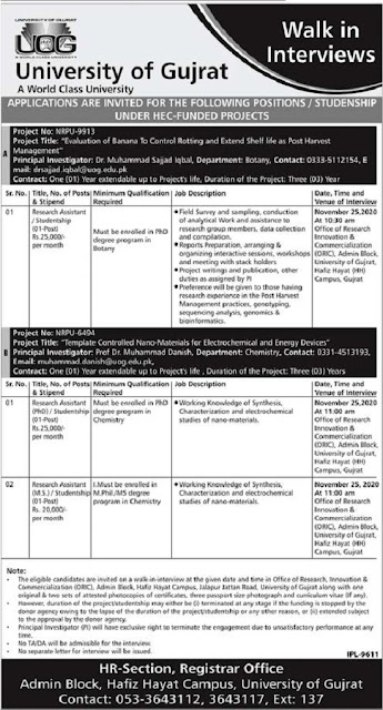 university-of-gujrat-uog-jobs-2020-research-assistant-advertisement
