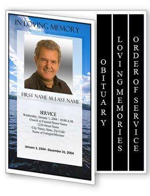 Obituary Template 4 Page Graduated Fold Obituary Program Templates