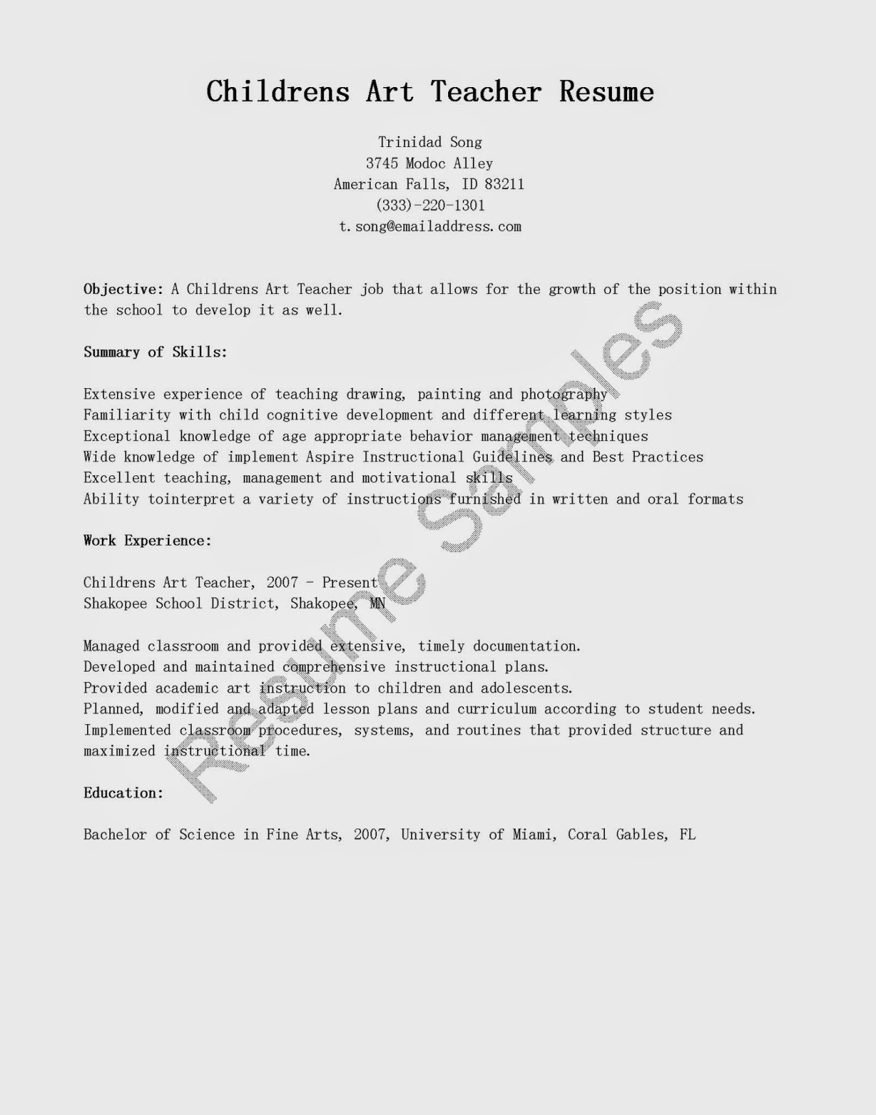 resume sample cover letter