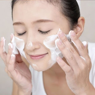 Face care with cleanser