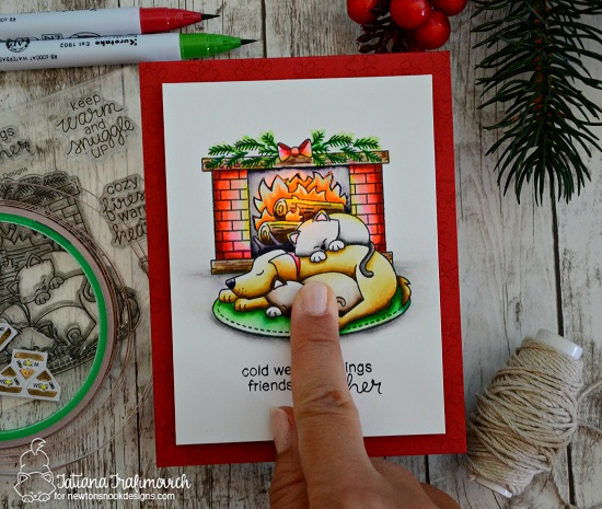 Fireplace light up card by Tatiana Trafimovich | Fireside Friends Stamp Set by Newton's Nook Designs with Chibitronics lights | #newtonsnook #chibitronics