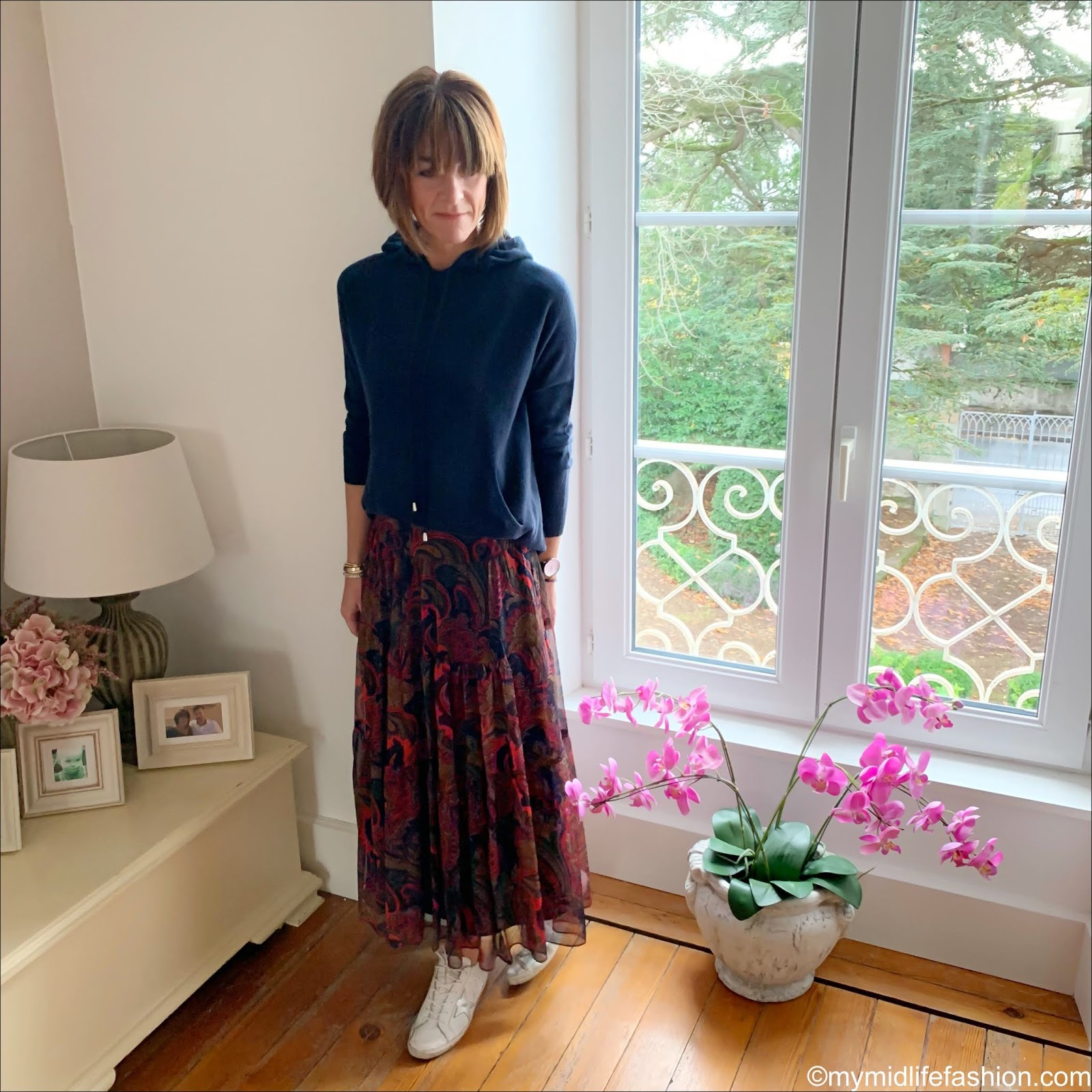 my midlife fashion, marks and Spencer pure cashmere hooded jumper, golden goose superstar low top leather trainers, Ralph Lauren Plaudina peasant skirt