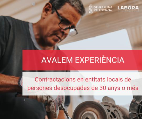 Un total de 500 corporaciones locales de la Comunitat contratarán a personas desempleadas a partir de 30 años gracias a Avalem Experiència