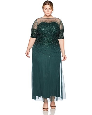 5562407eda0 Adrianna Papell emerald green plus size mother of bride groom dresses  illusion neckline shimmering three quarter sleeves