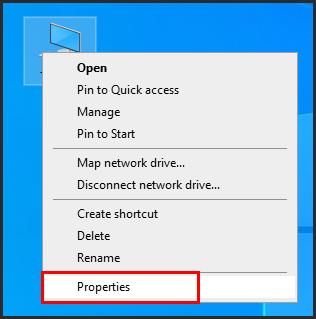 إنقر (كليك يمين) على أيقونة This PC ثم إختر خصائص Porperties.