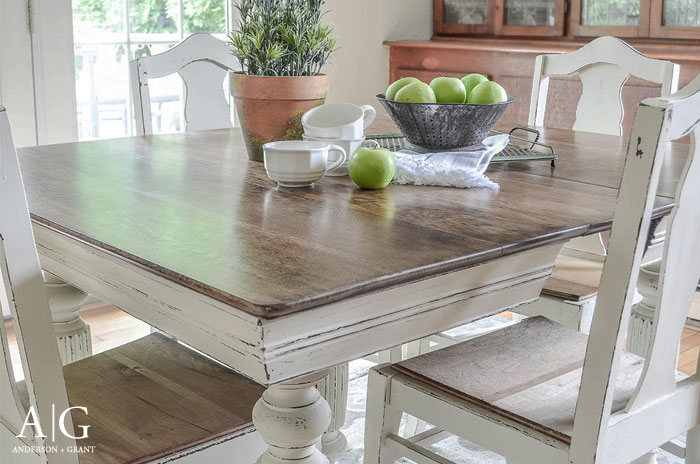 anderson + grant: antique dining table updated with chalk paint