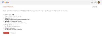 Verificado blogger en Google webmaster