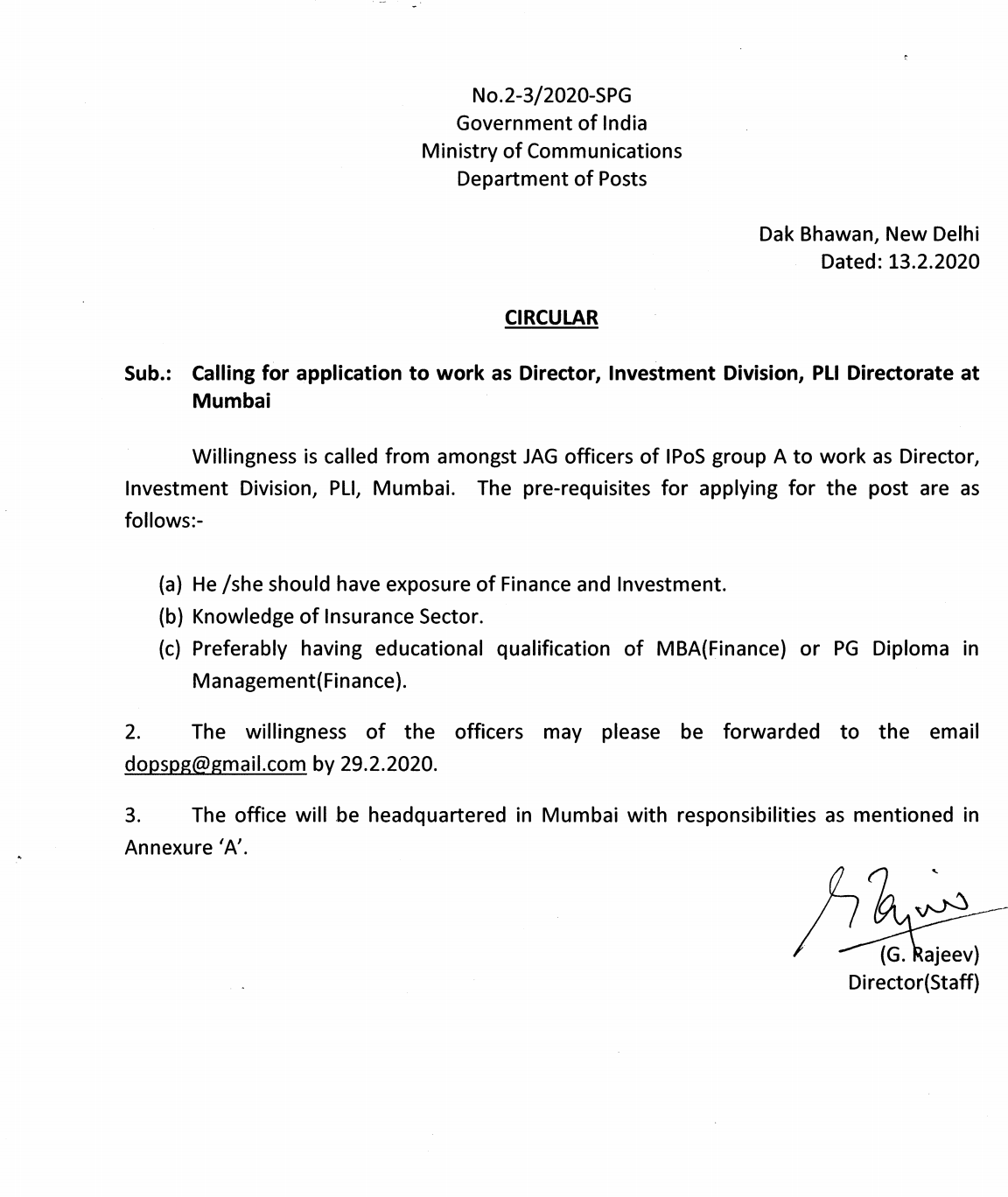 CALLING FOR APPLICATION TO WORK AS DIRECTOR, INVESTMENT DIVISION