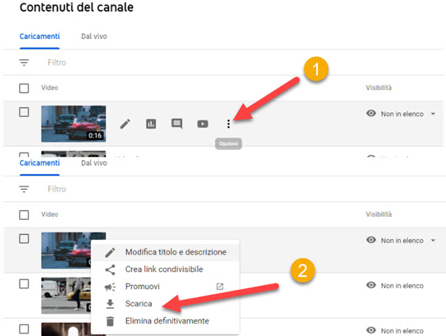 scaricare video sfuocato da Youtube Studio