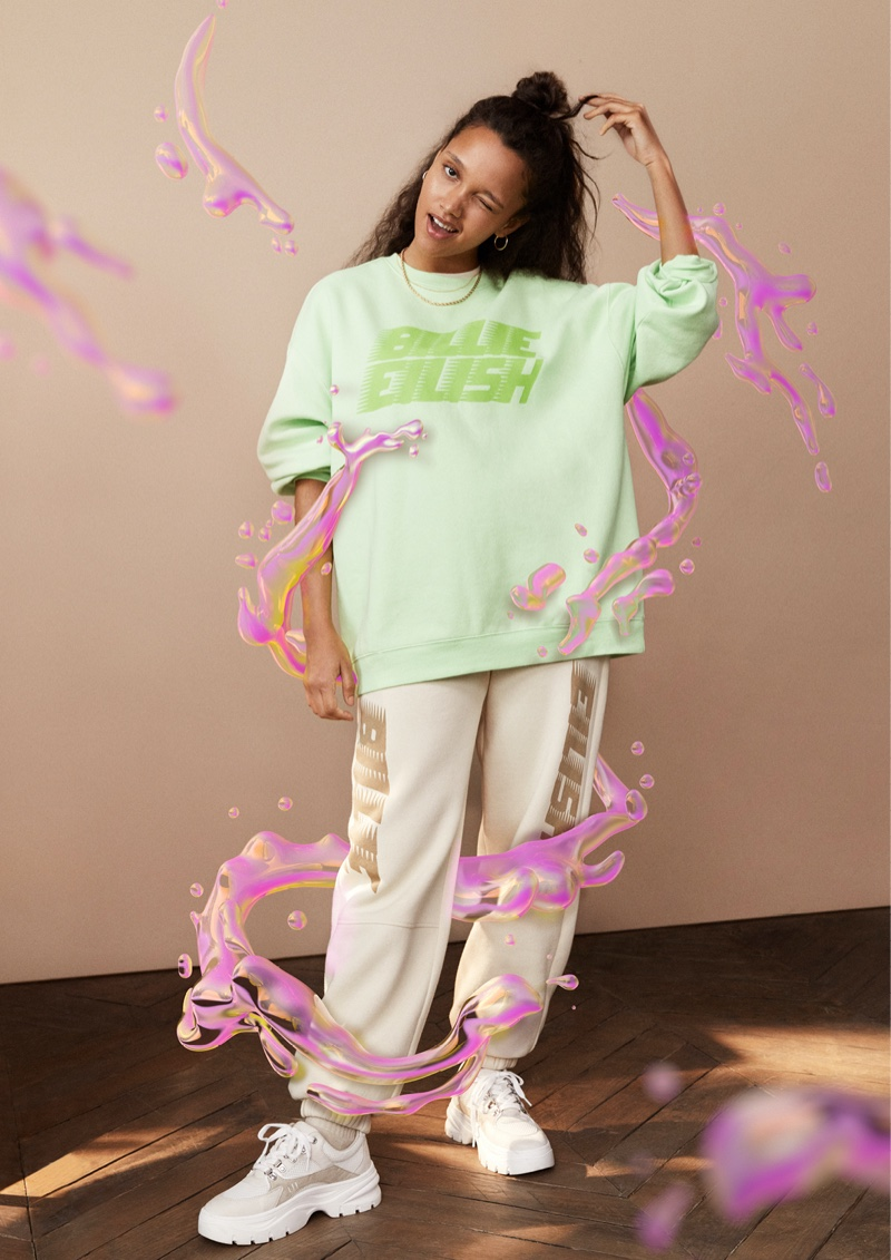 Billie Eilish's merch collection with H&M showcases bright styles