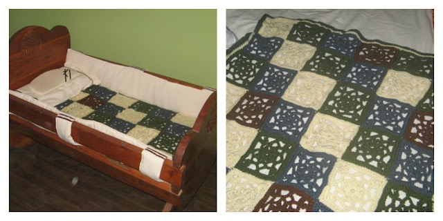 Manta tejida granny square crochet