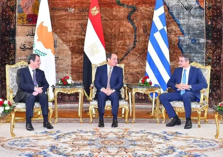 تعرف على  الإعلان المشترك  الصادر عن القمة السابعة لآلية التعاون الثلاثي  بين مصر وقبرص واليونان