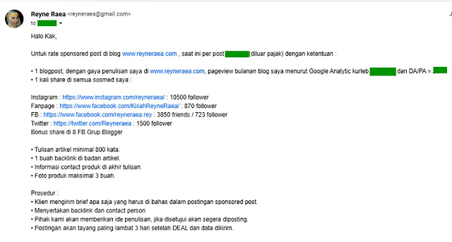 email penawaran rate card blogger