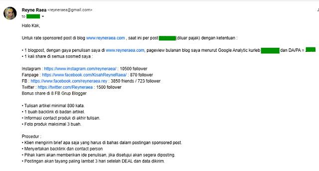 email penawaran rate card blogger