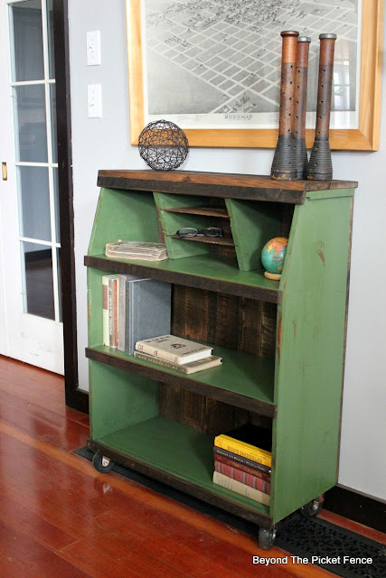 rustic industrial bookshelf with reclaimed wood