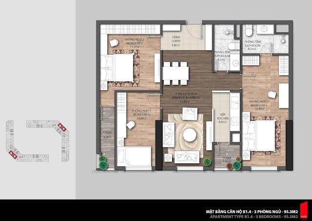 Thiết kế căn hộ 3 ngủ điển hình chung cư The Emerald
