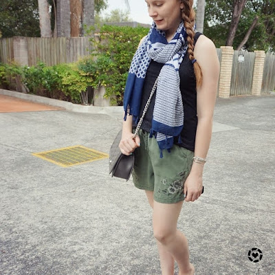 awayfromblue instagram oliveshorts navy mixed print scarf SAHM shopping style