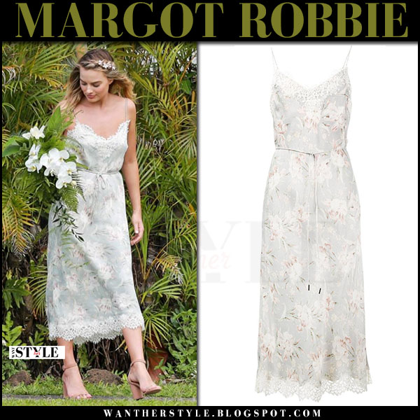 Margot Robbie in floral print slip dress zimmermann what she wore may 12 2017