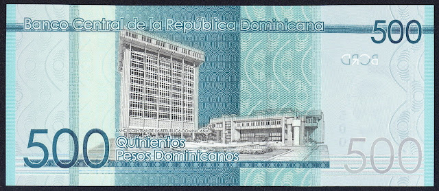 Dominican Republic money 500 Pesos Dominicanos banknote 2014 Central Bank of the Dominican Republic