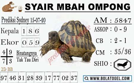 Syair Mbah Ompong Sydney Rabu 15 Juli 2020