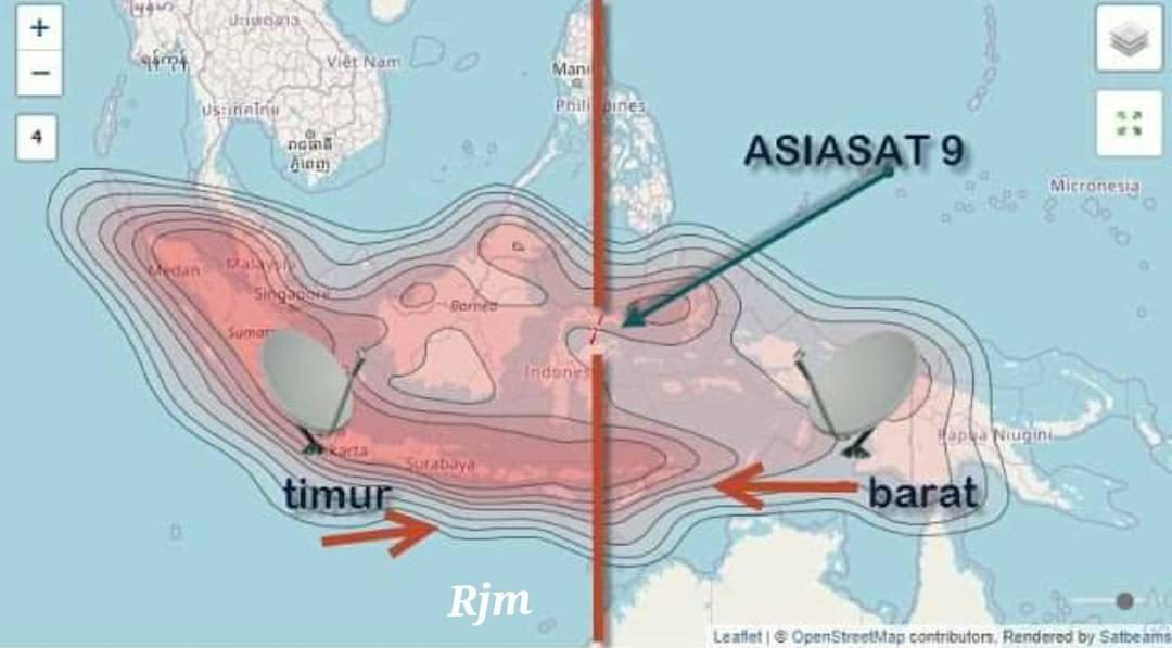 Posisi satelit Asiasat 9 Ninmedia TiviPlus