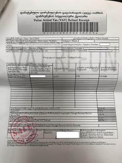 An example Value Added Tax (VAT) Refund Receipt