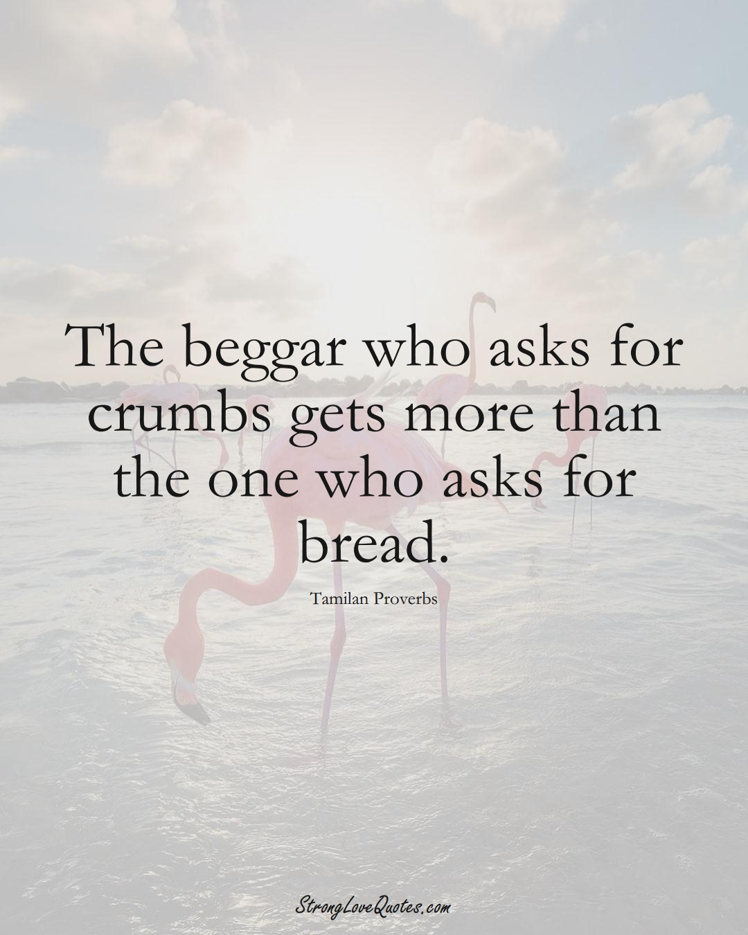 The beggar who asks for crumbs gets more than the one who asks for bread. (Tamilan Sayings);  #aVarietyofCulturesSayings