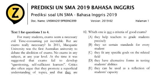 Latihan Soal UN Bahasa Inggris SMA 2019 (Prediksi Soal Ujian Nasional SMA 2019 Mata Pelajaran Bahasa Inggris), tomatalikuang.com