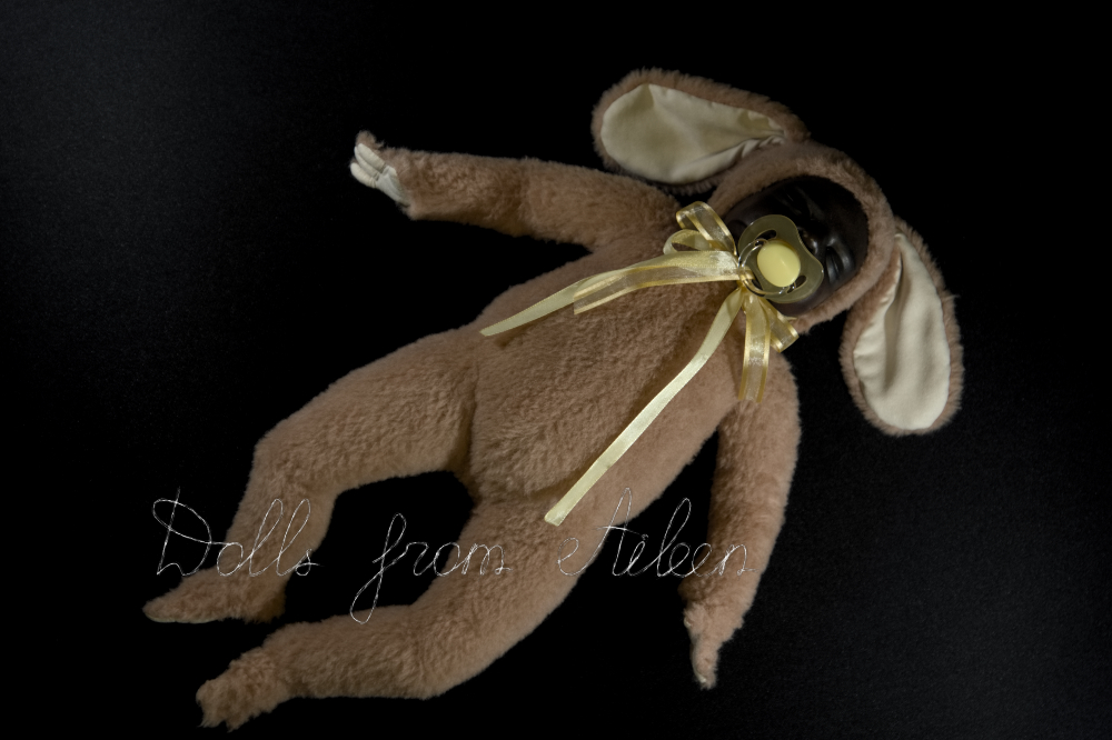 ooak baby teddy doll sleeping, sucking on pacifier