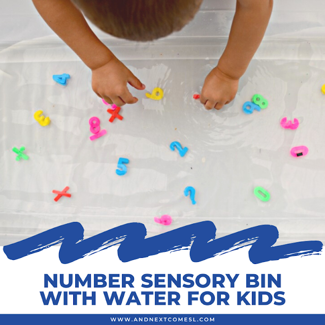 Number sensory bin with water for kids