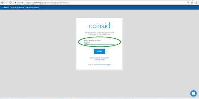 Cara Melakukan verifikasi email di App.coins.id
