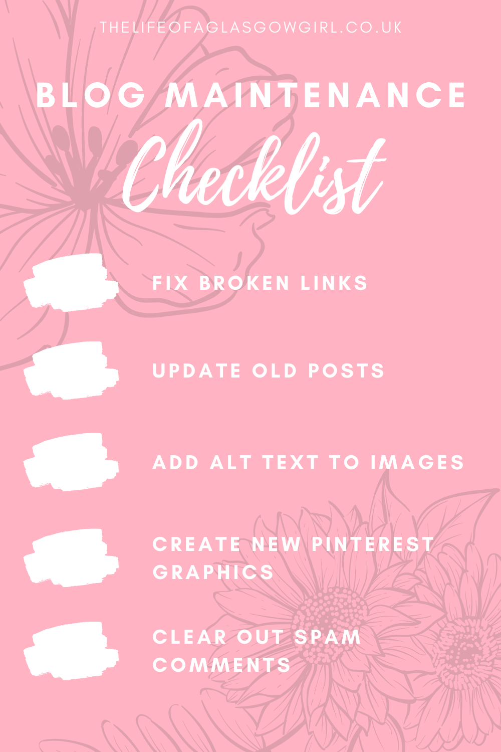 pinterest graphic with blog Maintenance checklist written in white text with 5 check offs