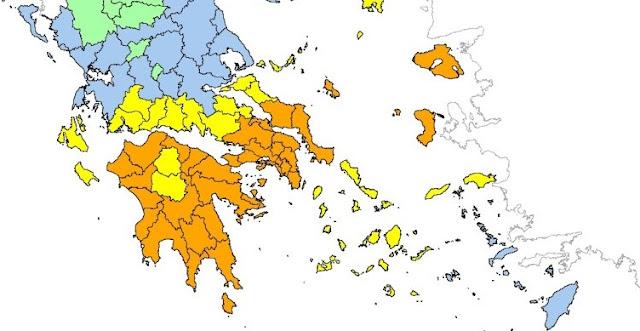 Λήψη μέτρων στην Πελοπόννησο λόγω πολύ υψηλού κινδύνου πυρκαγιάς τη Δευτέρα