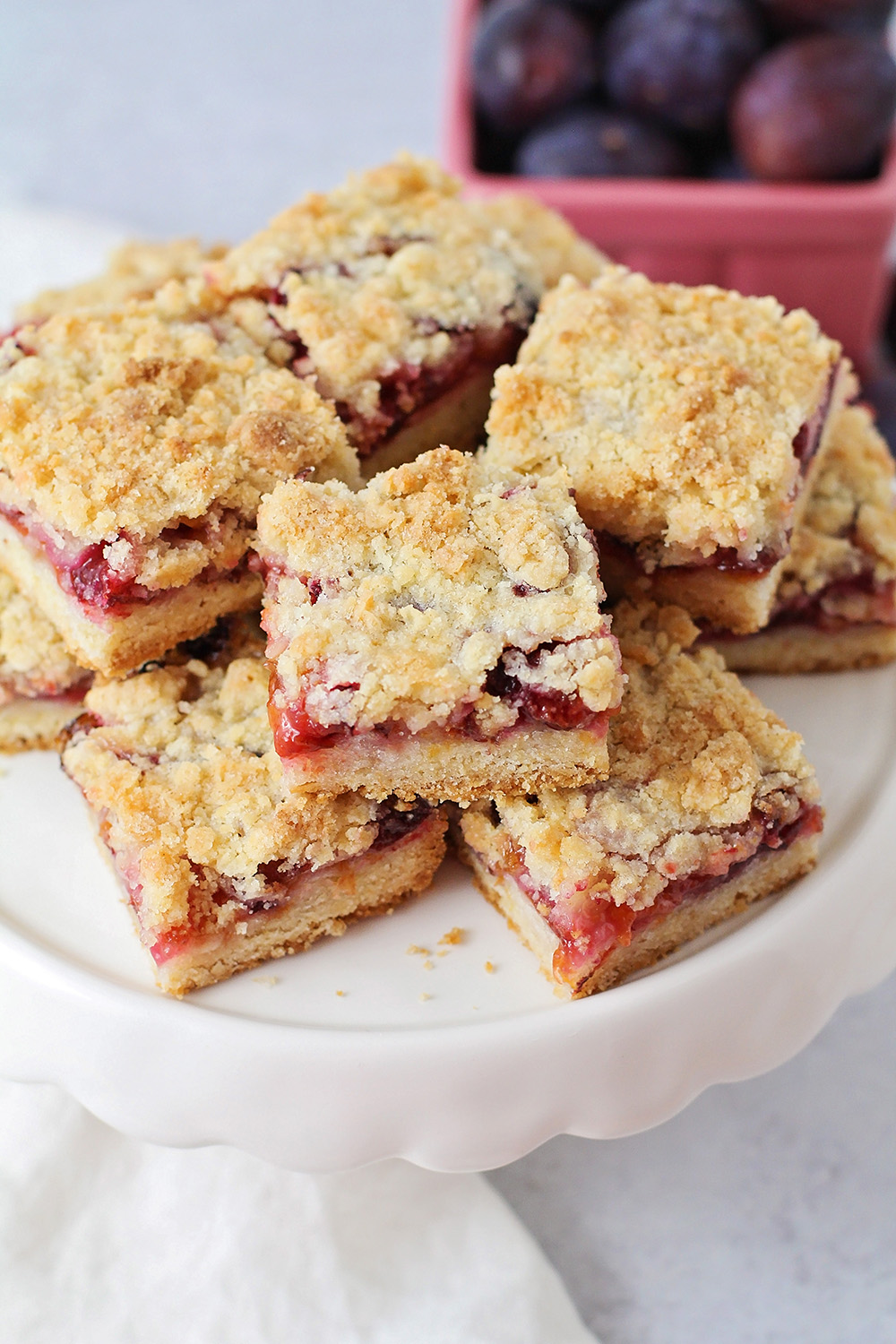 These easy and delicious plum crumb bars are the perfect way to showcase that sweet summer fruit!