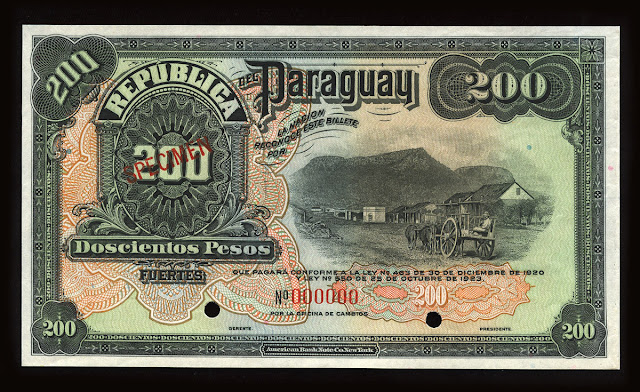 World paper money Paraguay Currency 200 Pesos banknote bill