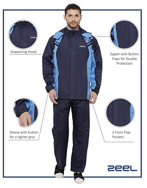 ZEEL Mens Raincoat AZ05 with Adjustable Hood, Reversible Raincoat for Men