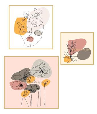 DIY Tableaux en Peinture Acrylique Modernes et Faciles - techniques de peinture acrylique faciles inspirées du line art et de la peinture abstraite. by BirdsParty.com @birdsparty
