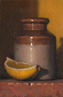 Still life oil painting of a lemon quarter beside an earthenware jar.