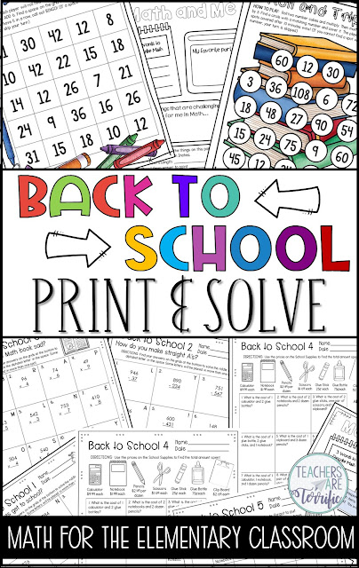 Fabulous resources and ideas to get you started back to school! This blog post will give you details about a Back to School Print and Solve Resource! #teachersareterrific
