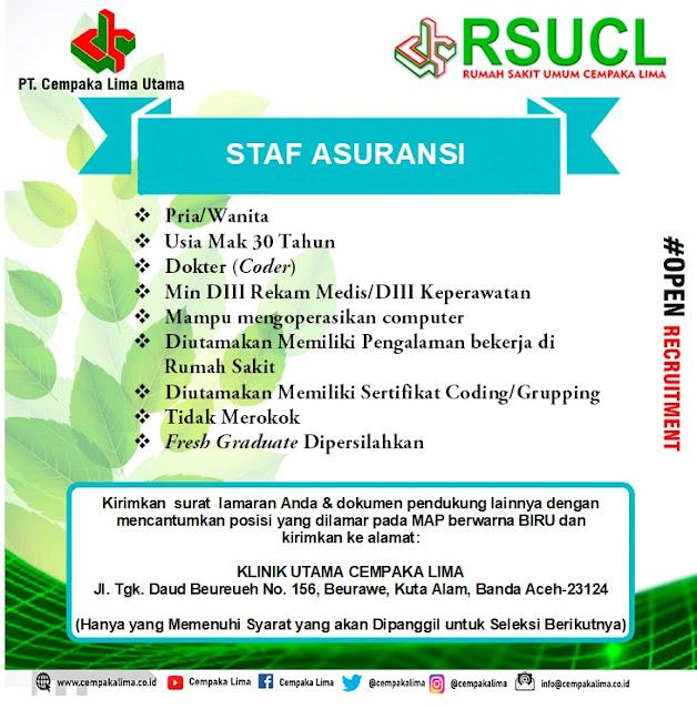 Lowongan Kerja Sebagai Staf Asuransi RSU Cempaka Lima Aceh Tahun 2020