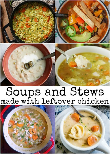 collage of soups and stews that can be made with leftover or rotisserie chicken