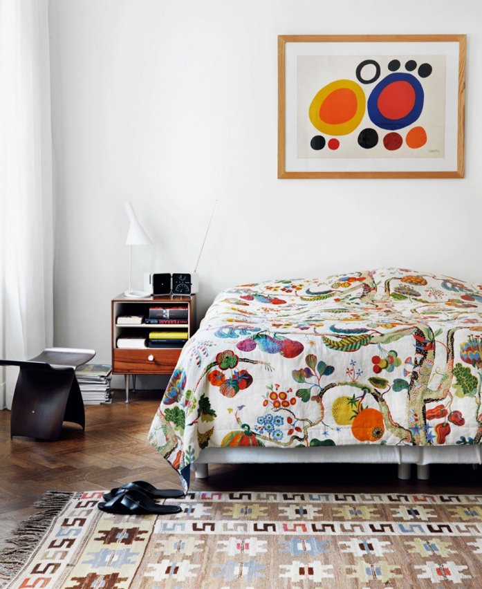 Pretty Blanket and Pops of Color Make This Bedroom a Happy Space-Jonas Ingerstedt  Photography