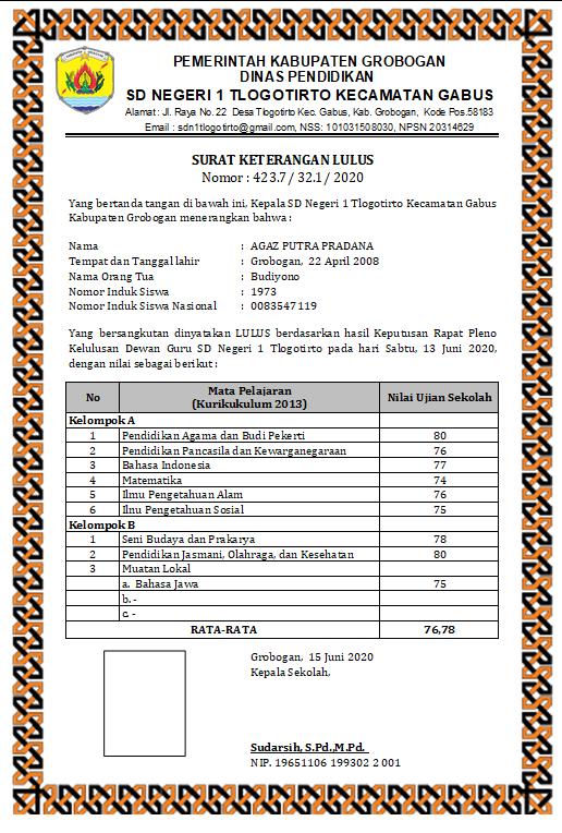 Surat Keterangan Lulus dan Rekap Nilai Kelas VI 2019/2020